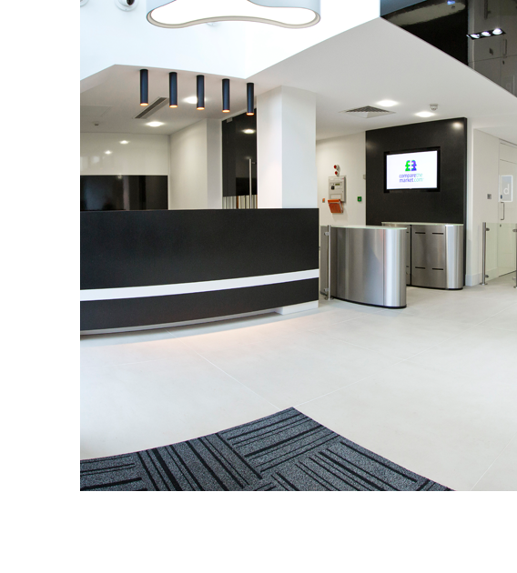 Reception area with black reception desk
