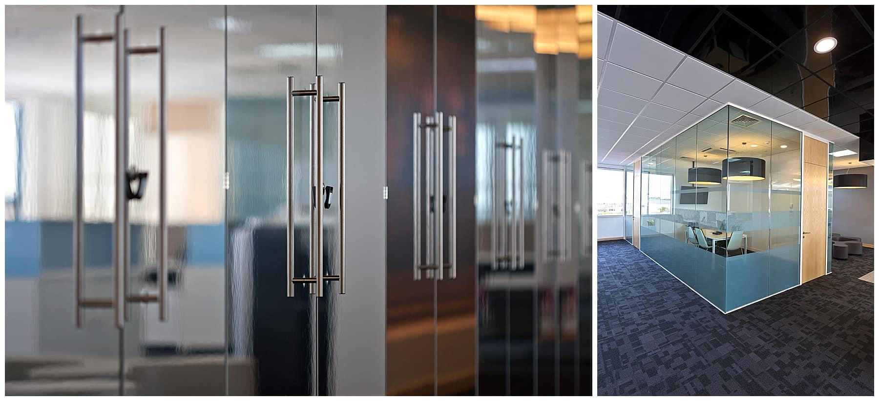 glass partition doors with stainless steel handles