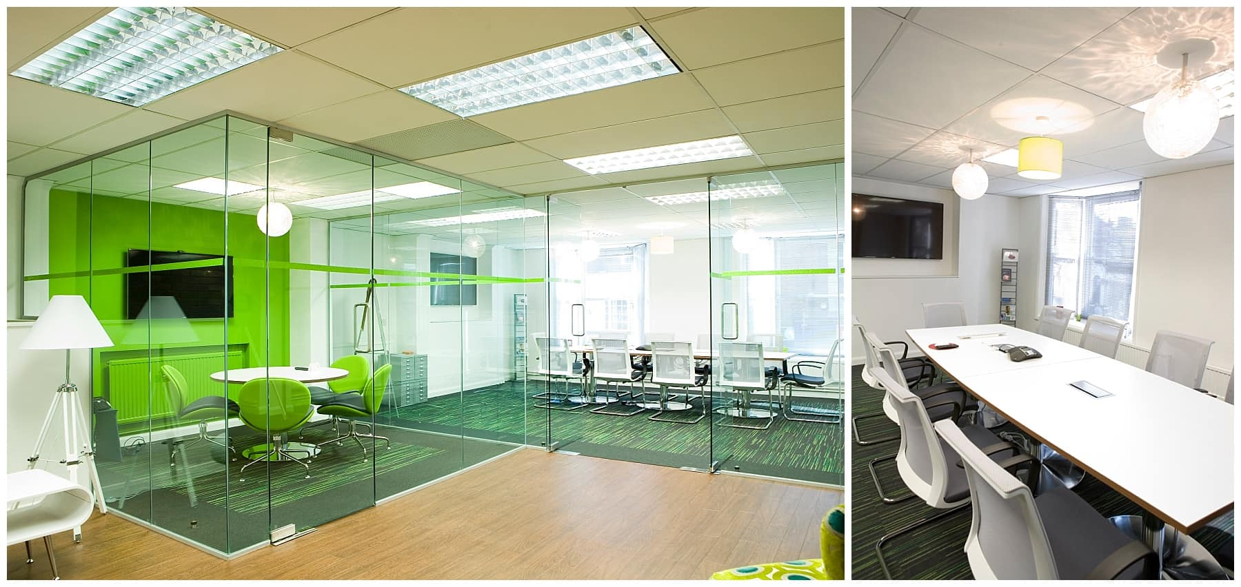 glazed partitioning with lime green feature wall and TV mounted on the wall.
