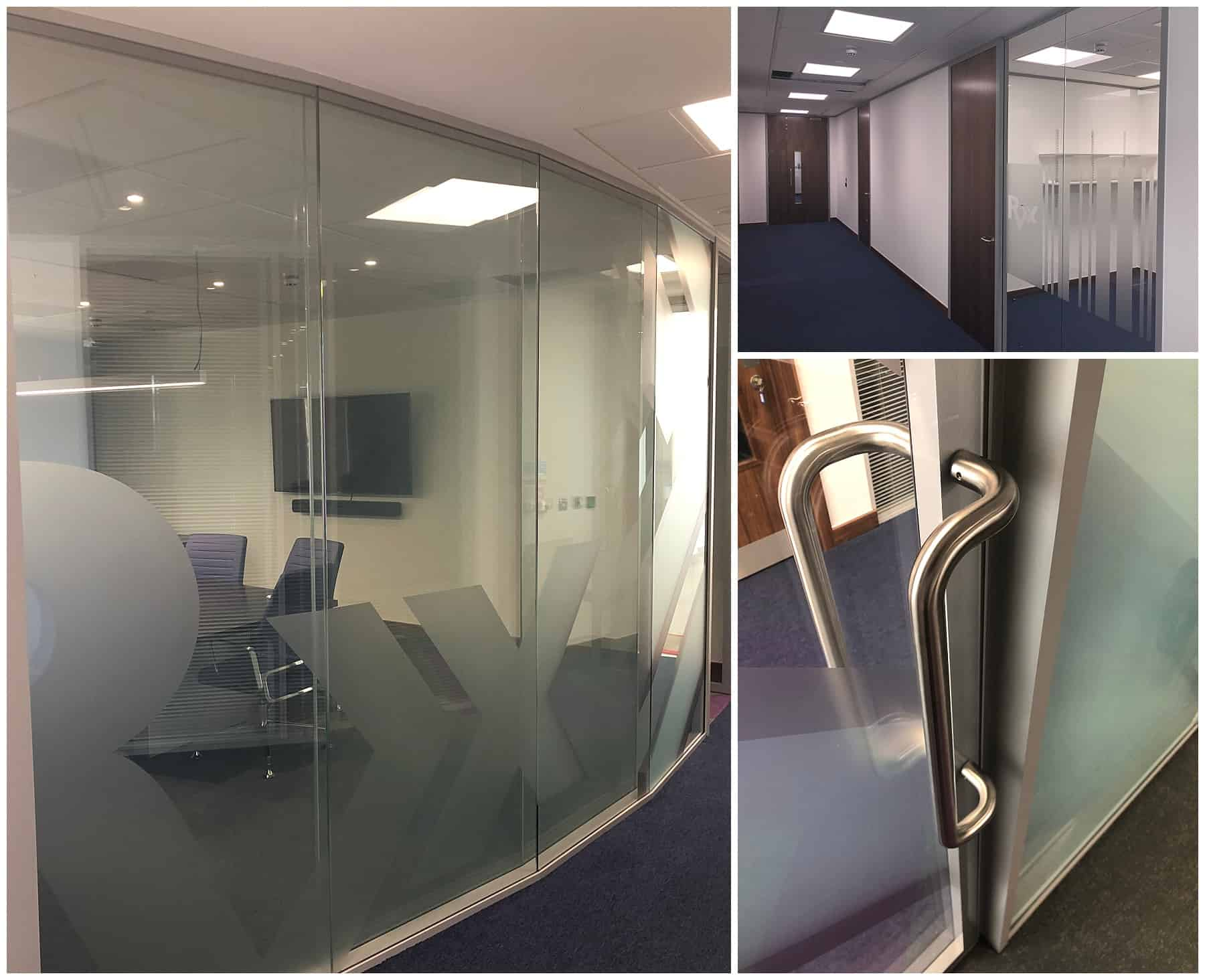 curved glazed partition with blue carpet