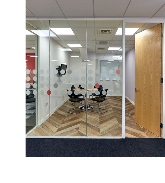 office glazed partition with a spotty manifestation