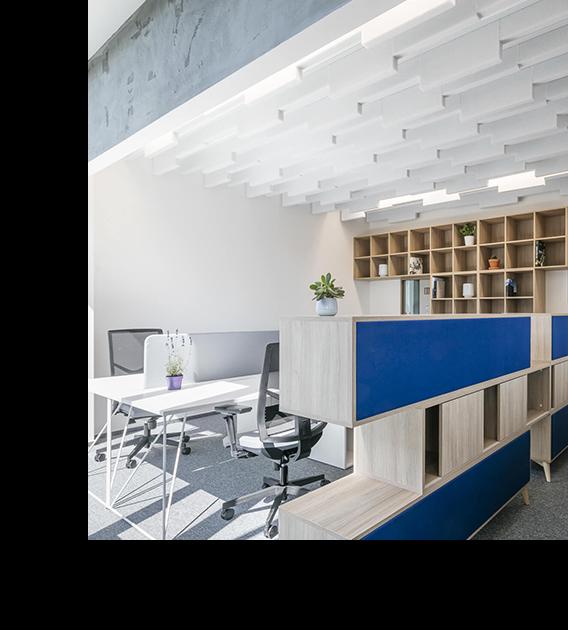 storage screening unit with white desking