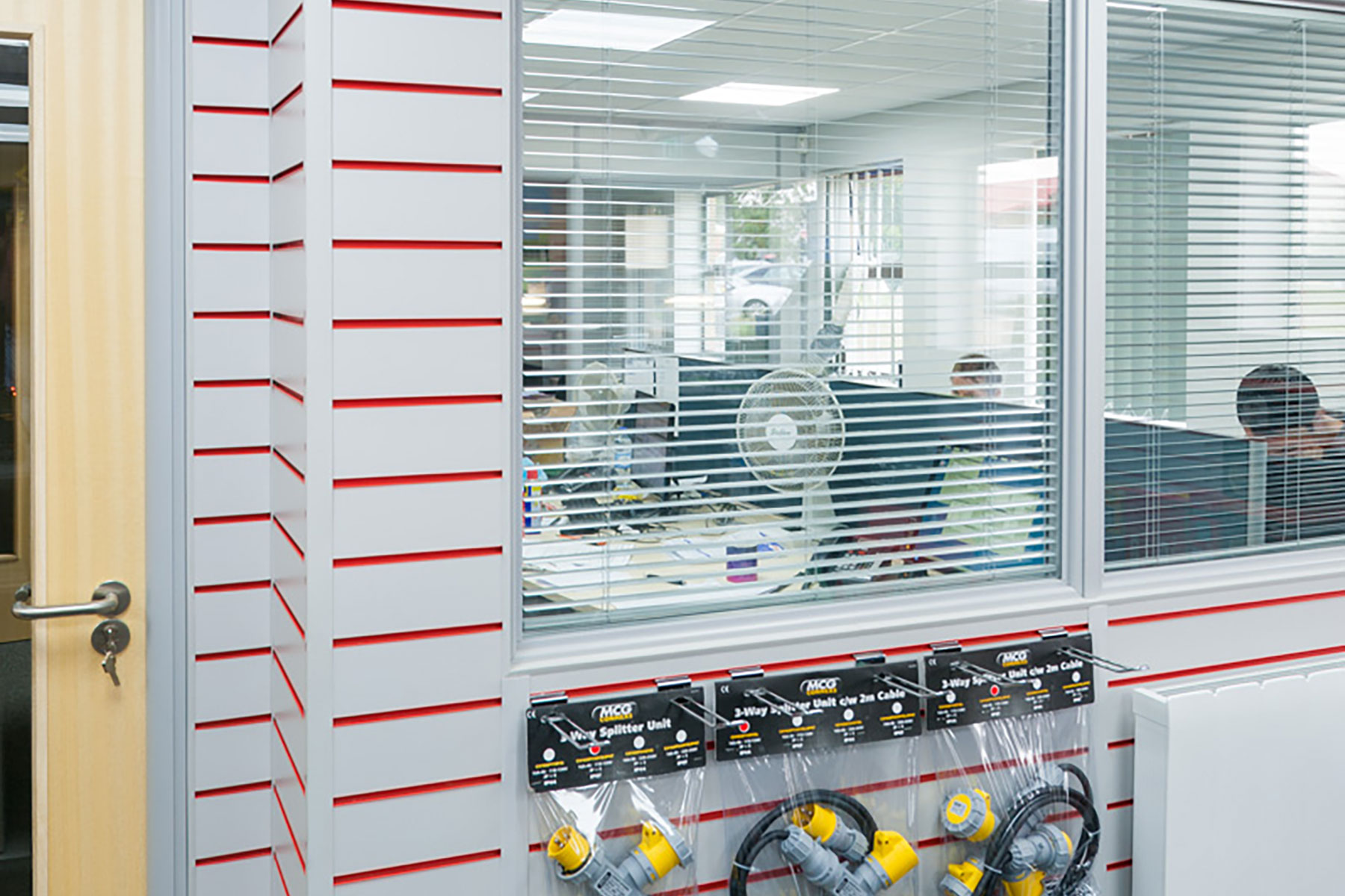 Glazed office windows with venetian blinds