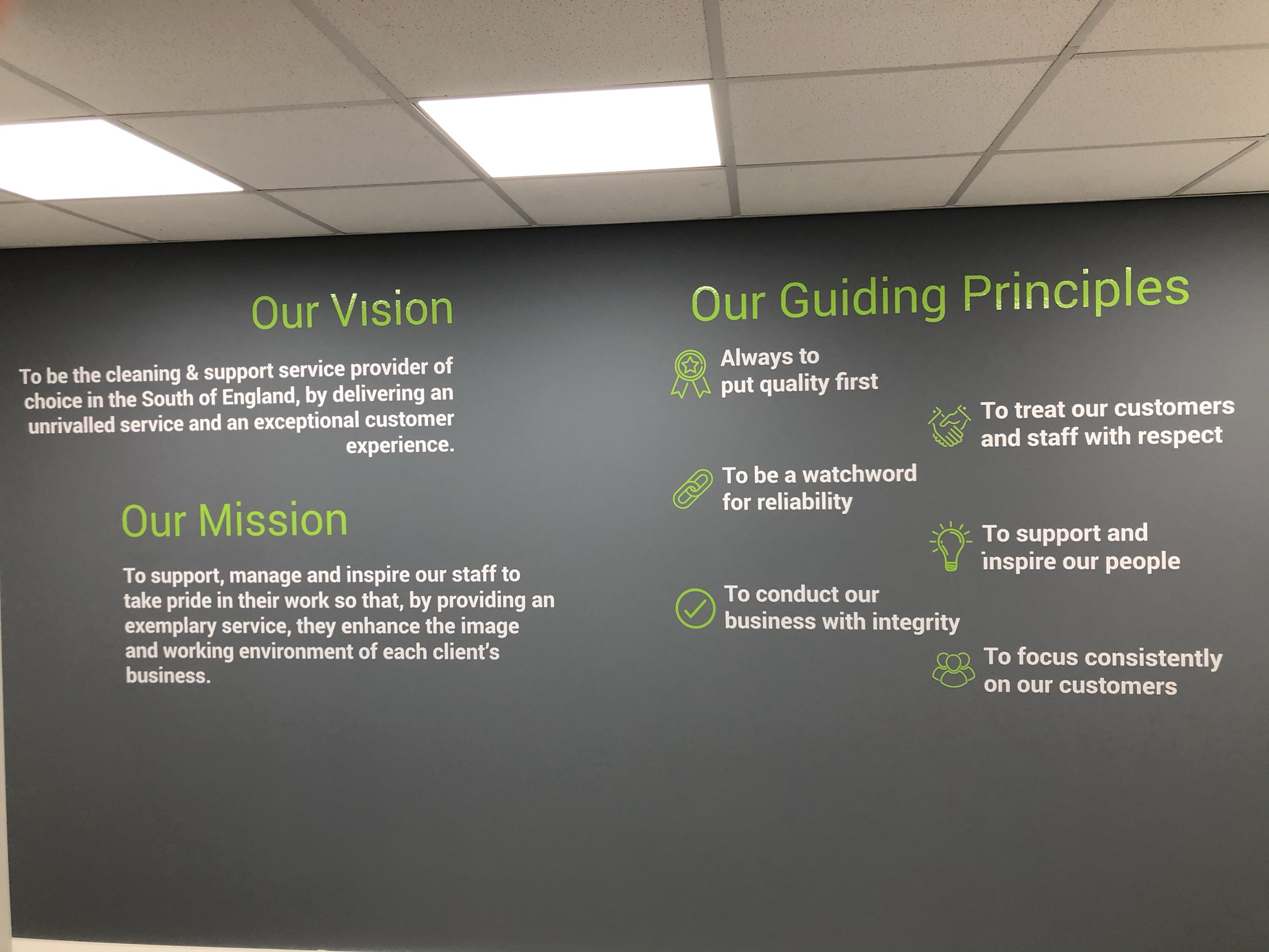 Painted wall with company values written on it